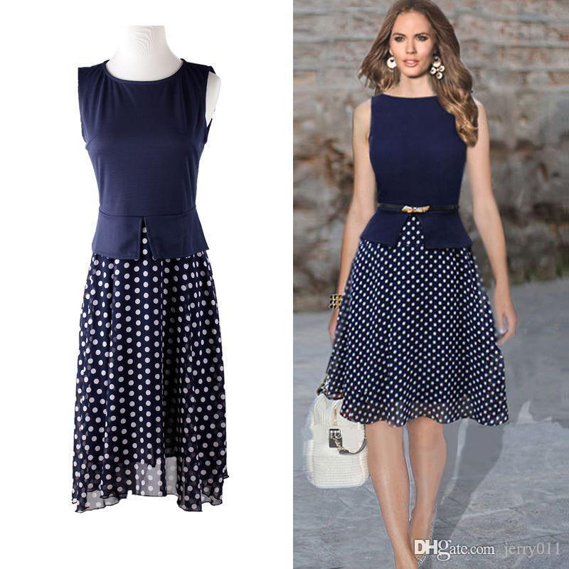 Summer Dress 2016 Dark Blue Polka Dot Dresses Garment Women Casual ...