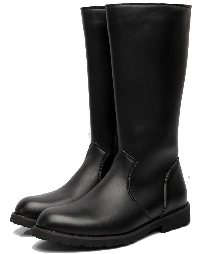 Fashion Men's Knee-High Boots,Black Side Zipper Plain PU Leather ...