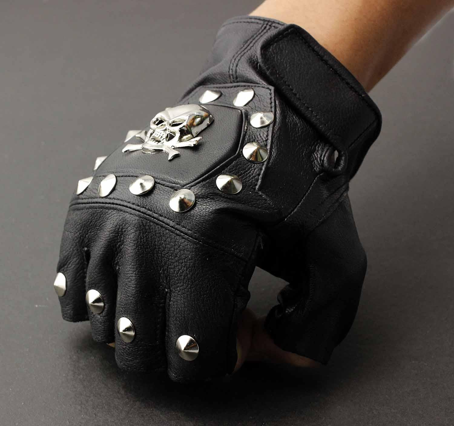 Fingerless leather gloves mens accessories - Men S Real Leather Skull Punk Rocker Driving Motorcycle Biker Fingerless Gloves