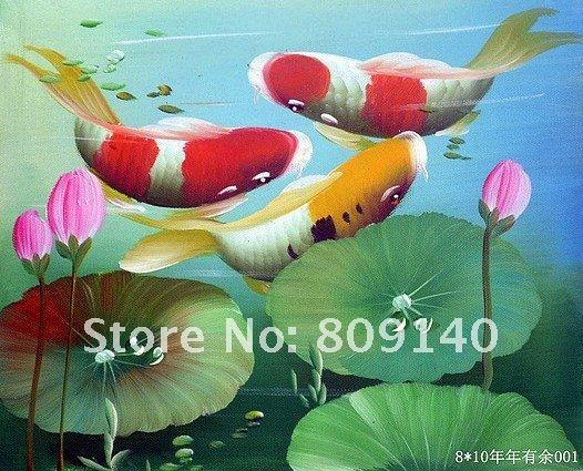 2017 fish oil painting feng shui koi painting canvas for Japanese koi fish wholesale