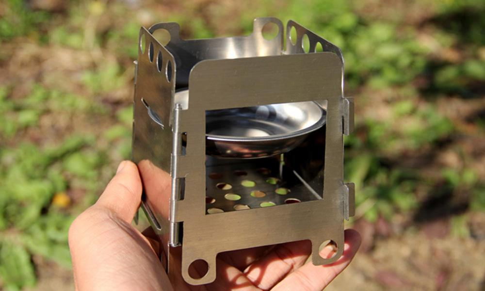 Pocket Lightweight Stainless Steel Folding Wood Stove Outdoor Camping  Alcohol Stove Cooking Multi Fuel Stove Burner 9*8*11cm - Pocket Lightweight Stainless Steel Folding Wood Stove Outdoor