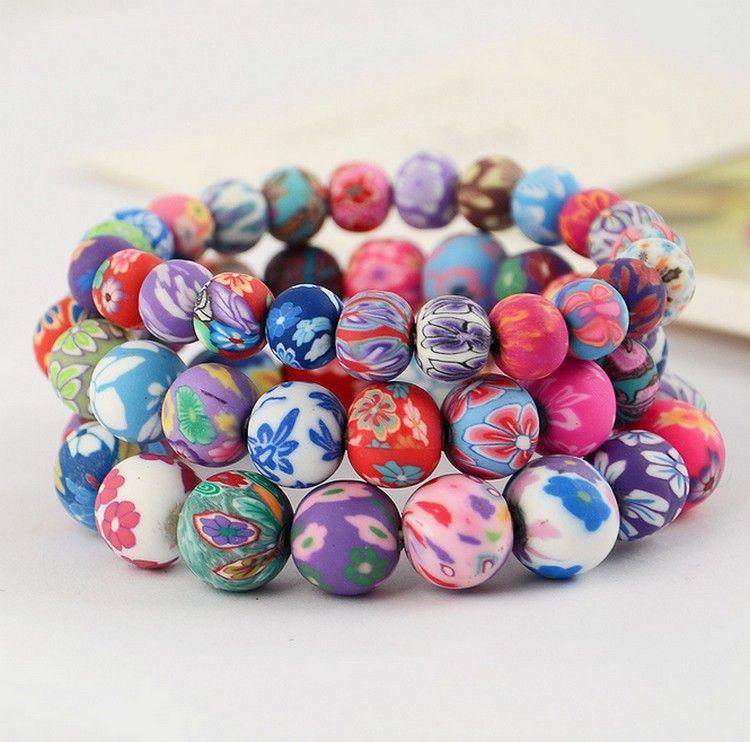 sales color fimo clay bead bracelet