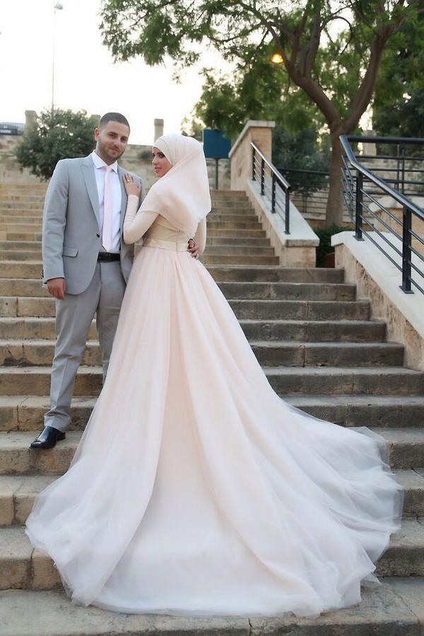 2015 muslim wedding dresses long sleeve draped tulle for Cheap muslim wedding dresses