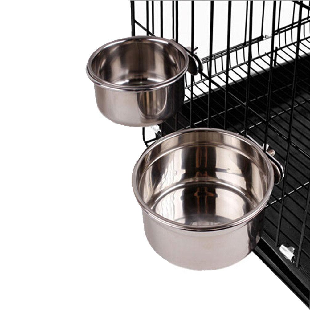 stainless steel cage coop cup bolt clamp hanger bird cat dog puppy crate bowl high quality silve stainless steel food bowl pet food bowls dog cat water bows