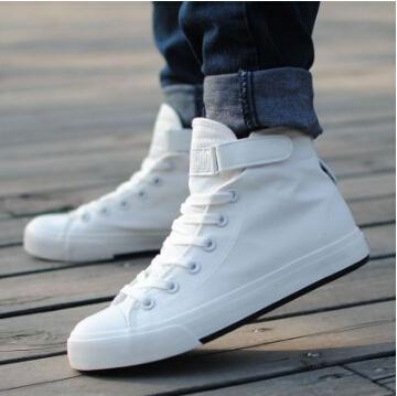 men spring high top canvas shoes women white lace up