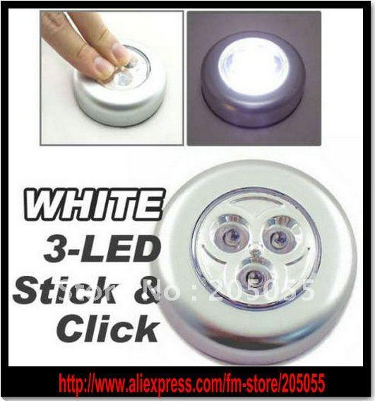 Wireless Battery Power 3 LED Under Cabinet Closet Light Lamp CAR LIGHTING  Bulb Push Light
