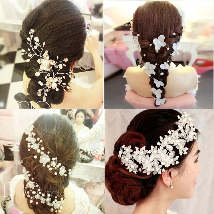 romantic 2015 cheap bridal hair accessories fancy peals and crystals