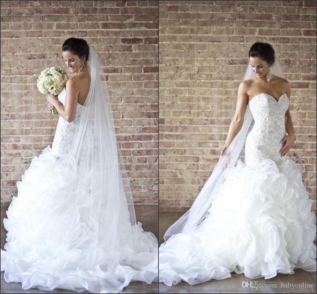 2016 Glamorous Beading Pearls Mermaid Wedding Dresses y