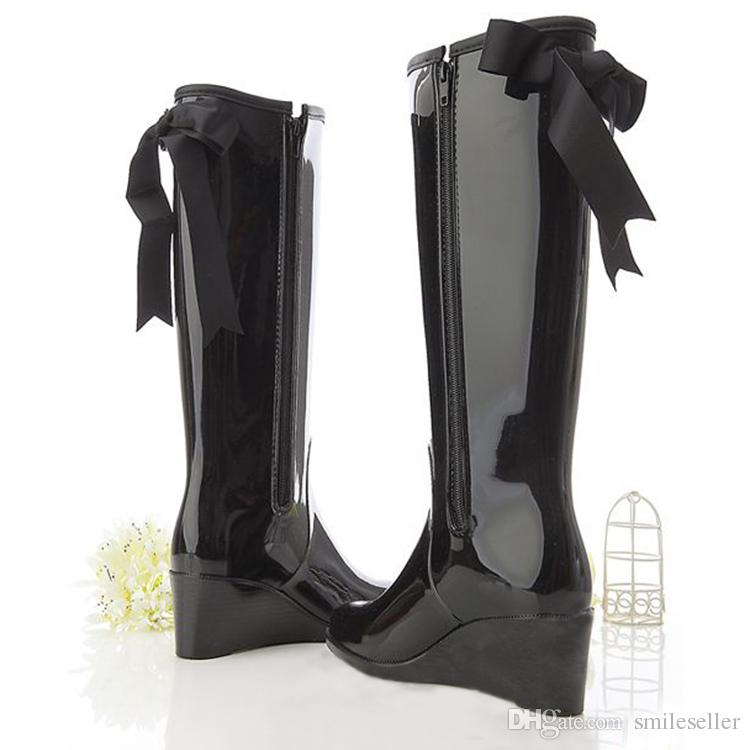 Big Sale 2015! Knee-High Women Rain Boots Fashion Solid Wedges ...
