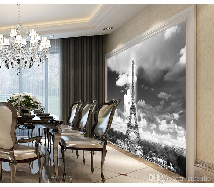 Classic Black White Wallpaper Paris Eiffel Tower Designer Wall Mural Interior Decoration Mural Charming Wallpaper Wall Print Decal Interior Decoration