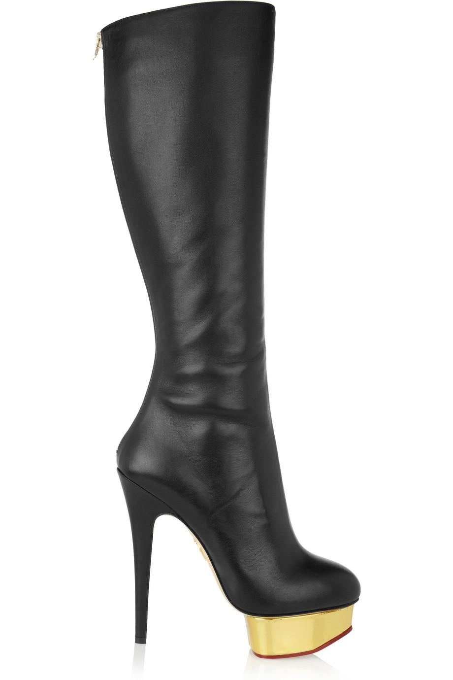 Black Knee High Boots For Women Gold Platform Boots Thin Heels ...