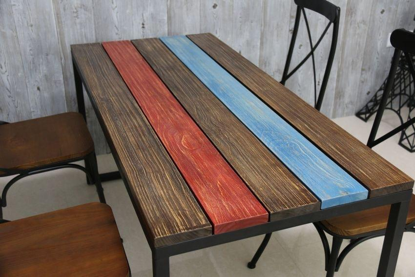 Europe And America to Do the Old Retro Color Stripes Casual Dining Furniture,  Wrought Iron Wood Pine Coffee Table Computer Desk Online with $364.17/Piece  on ...