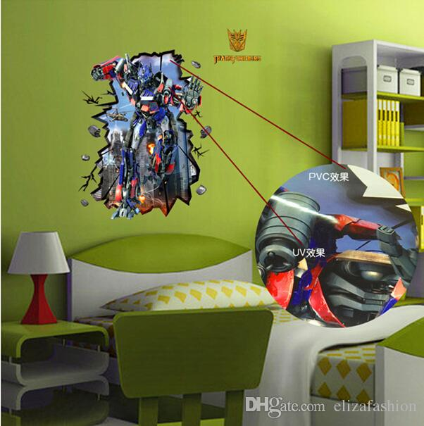 Cartoon Wall Sticker Transformers Wall Stickers Waterproof Wallpaper Boys Room  Décor Wall Decals Poster Decor Art Baby Boy Nursery Room Transformers Wall  ...