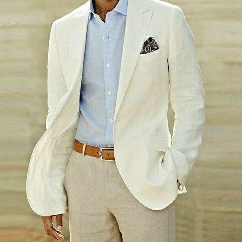 2015 New Ivory Linen Suit Custom Made Men White Linen Blazer And ...