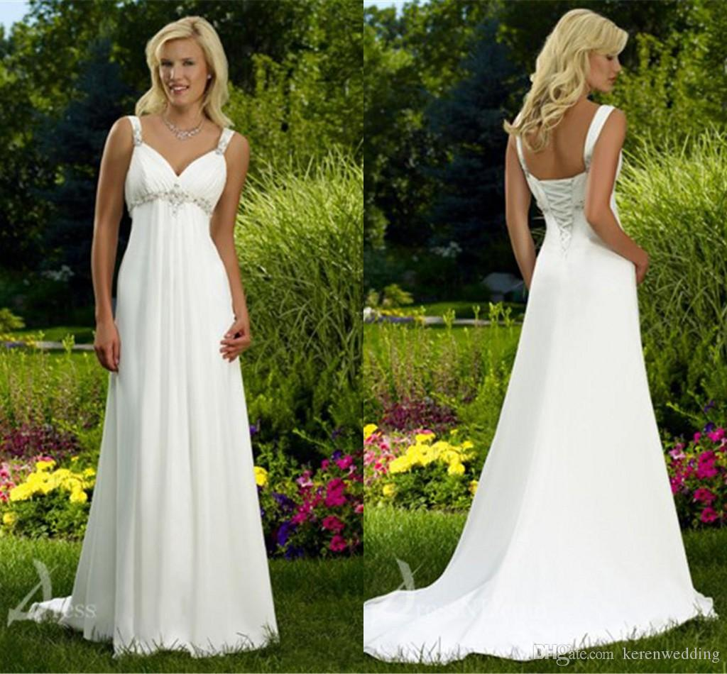 Cheap White Maternity Wedding Dresses: Discount White Simple Chiffon Maternity Empire Wedding