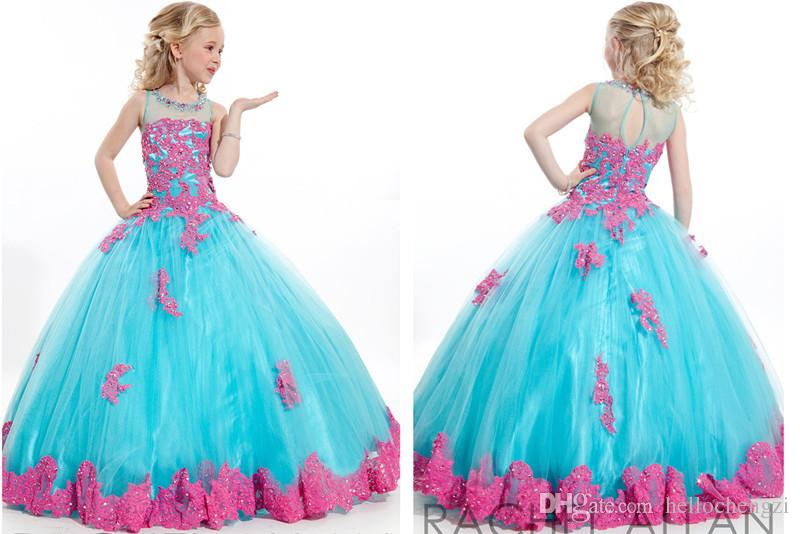 2015 Newest Perfect Angels Turquoise Girls Pageant Dress With Pink ...