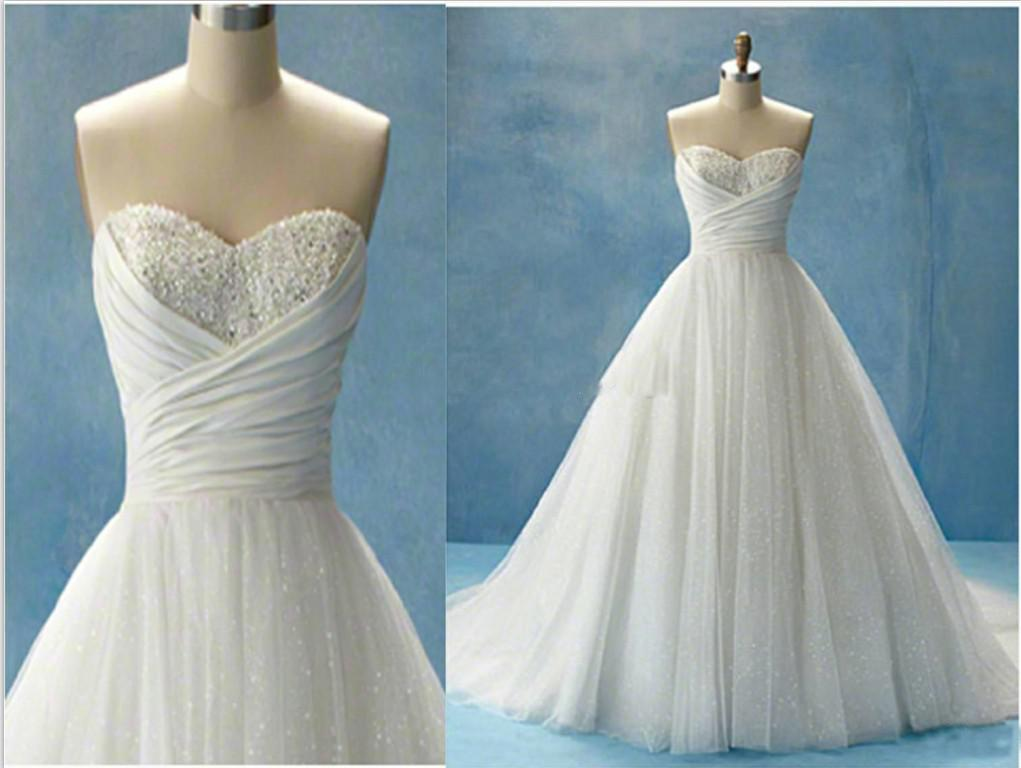 White Cinderella Beach Wedding Dresses Glitter Ball Gown ...