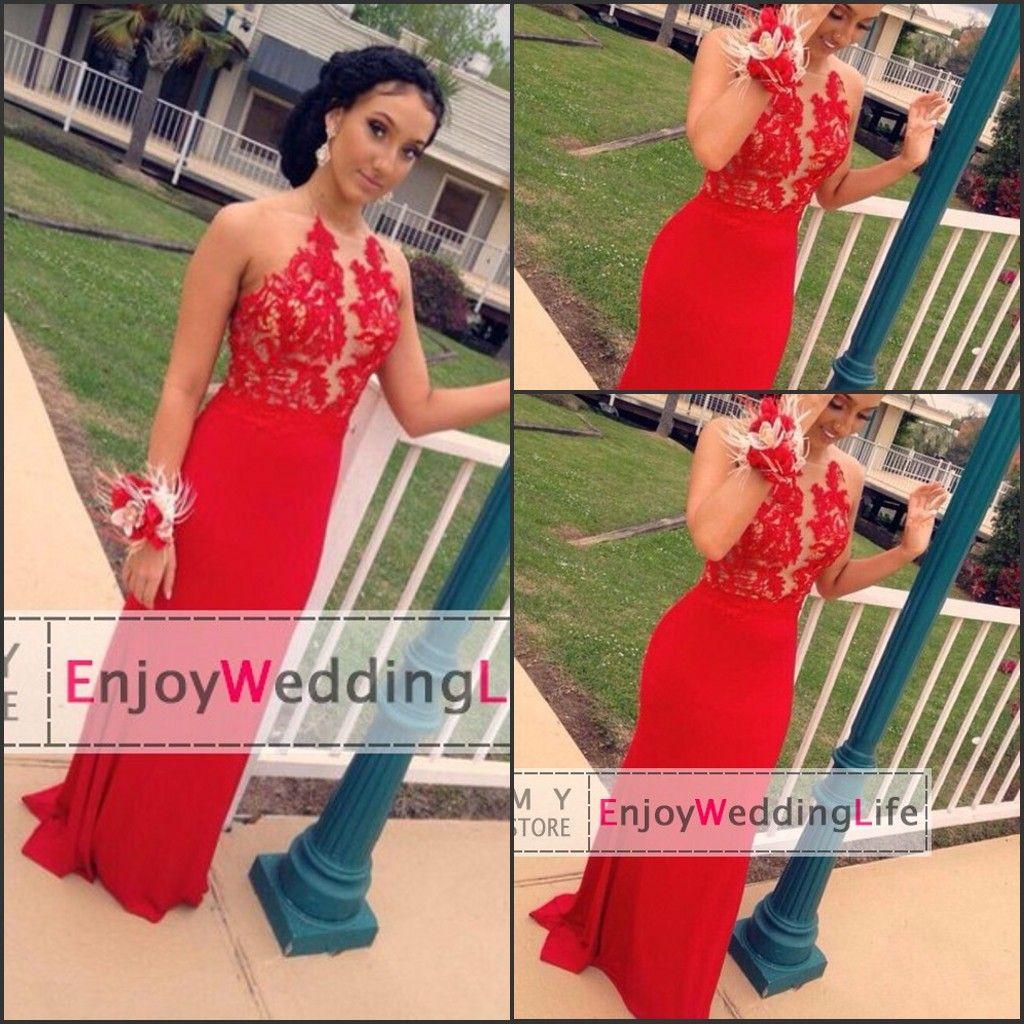Red halter prom dresses