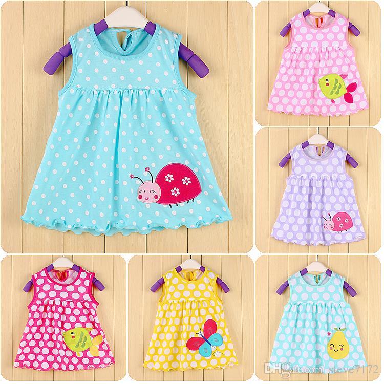 Ladybug Polka Dot Bebe Dresses 0-2years Baby Girls Dress ...