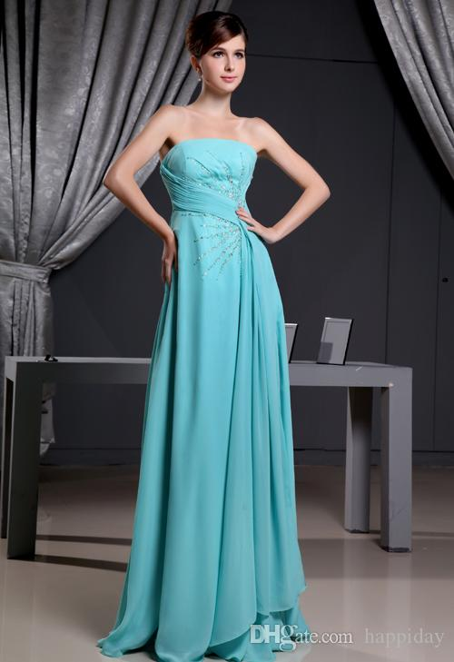 Promotion Strapless Beaded Appliques Hunter Chiffon Evening ...