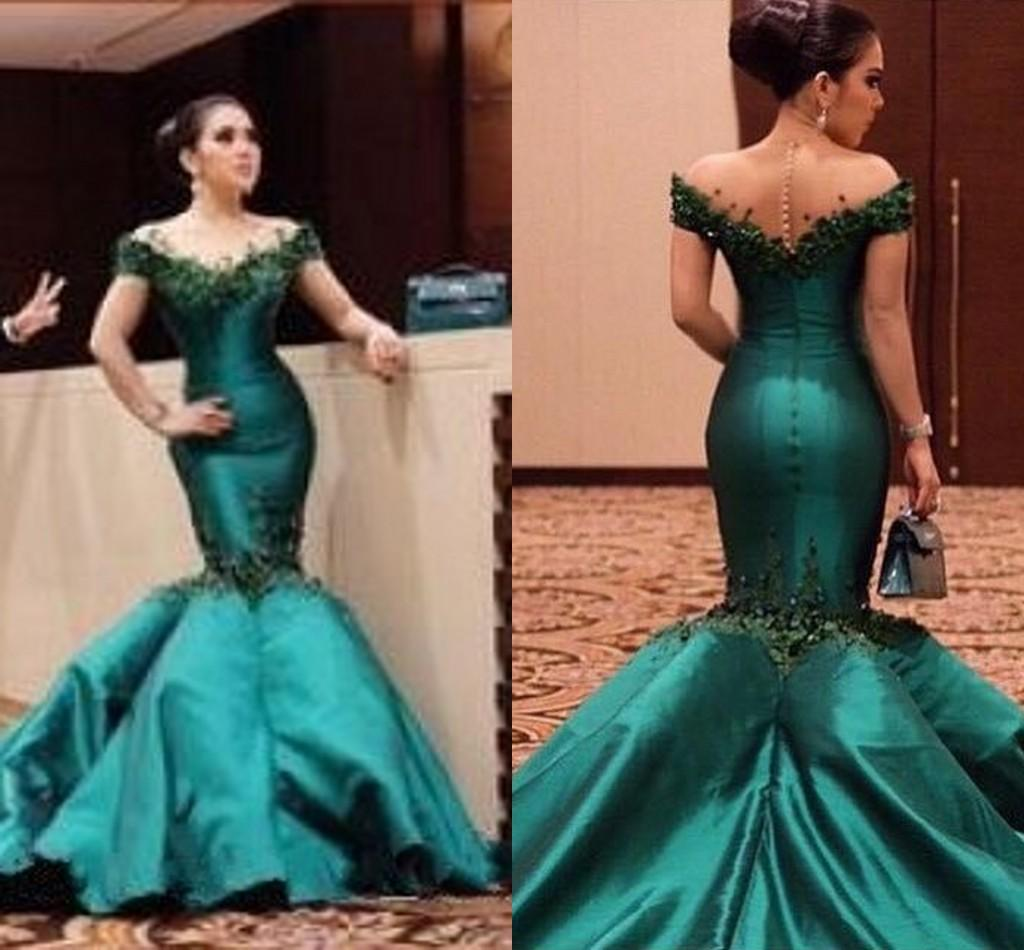 Dark Green Mermaid Evening Dresses 2018 Gorgeous Off The ...