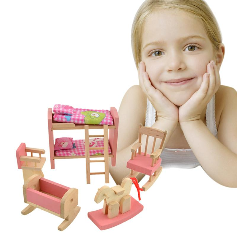 brand baby kids wooden doll bathroom furniture bunk bed doll house miniature for kids child brand baby wooden doll house