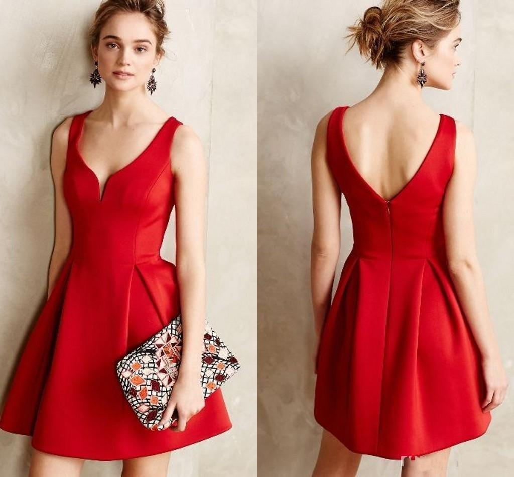 Causal Short Party Dresses Red A Line Short Prom Dresses