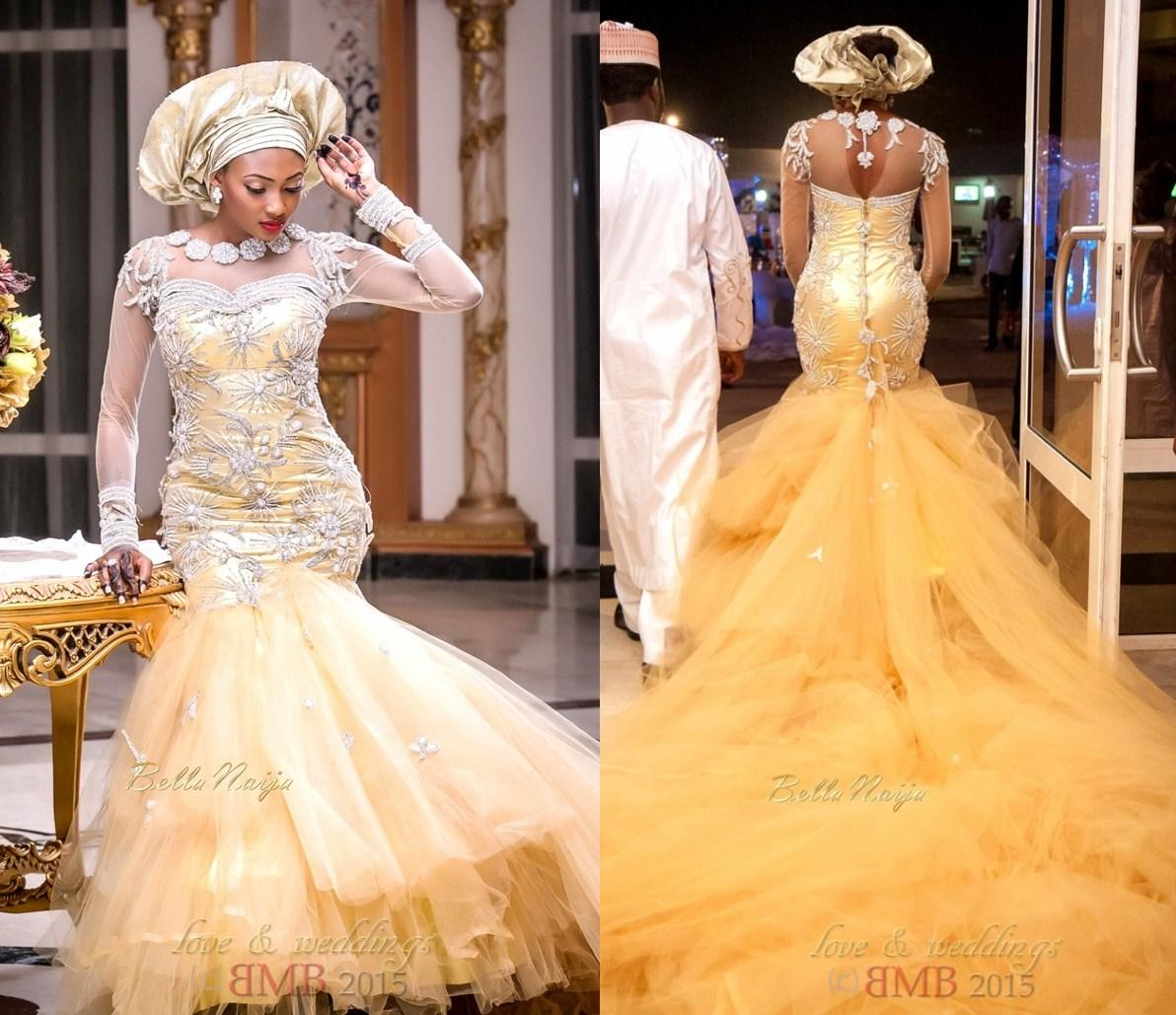 African Traditional Wedding Dresses 2015 Gold Tulle Pearls Beaded ...