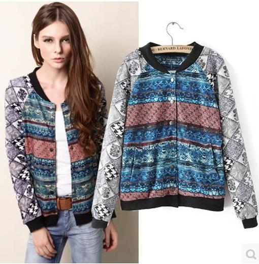 Women Jackets Vintage Ethnic Patterns Printed Long Sleeve Zipper ...