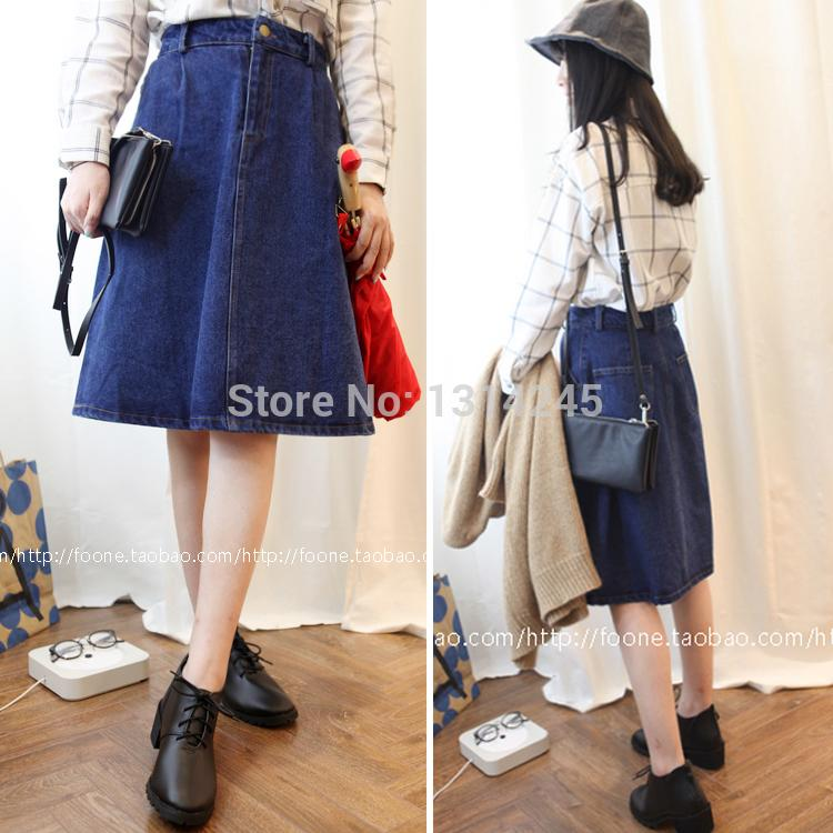 2017 2015korean Charm Lady Casual Denim Skirts Plus Size M 3xl New ...