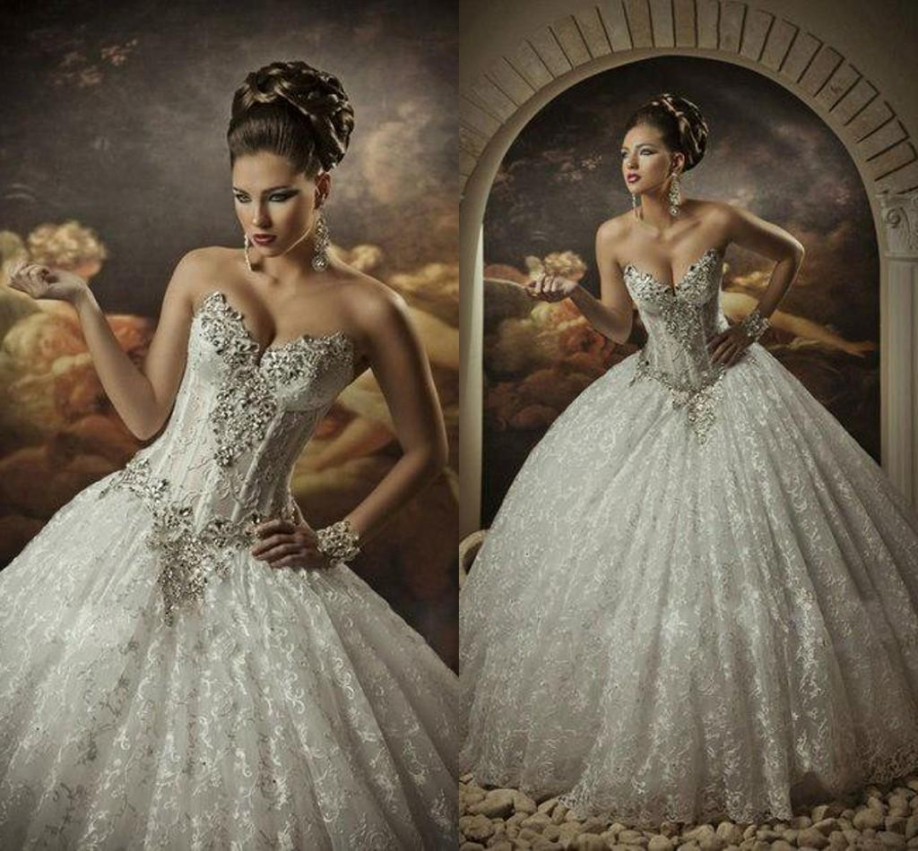 Lace Ball Gown Wedding Dresses With Rhinestones Sweetheart