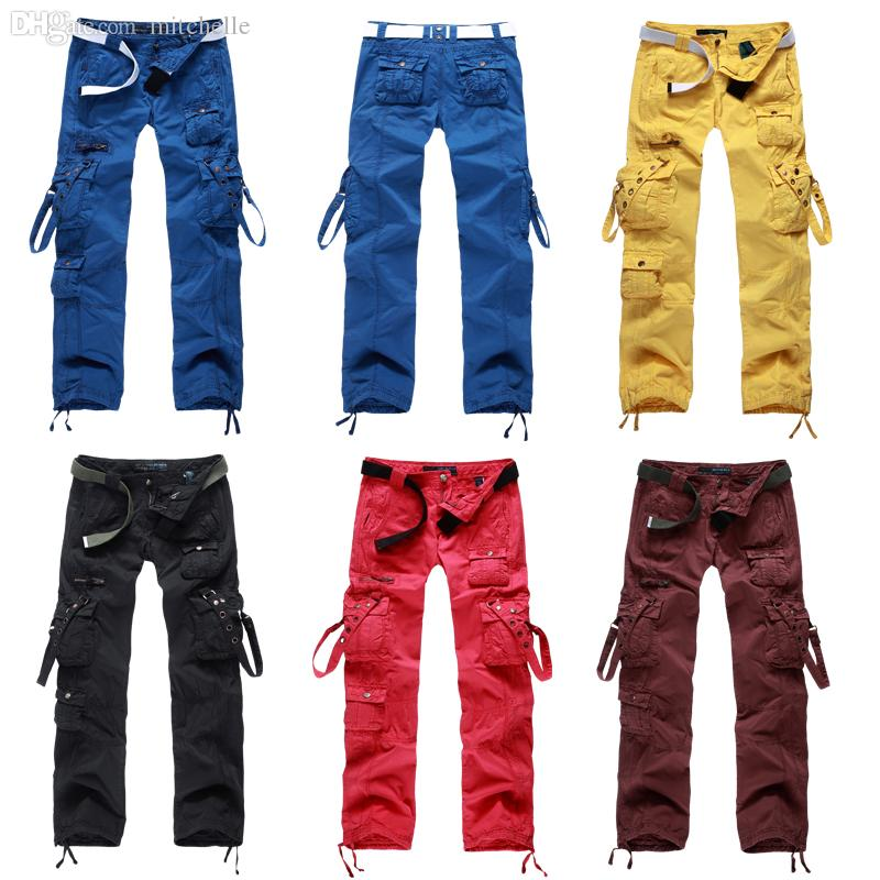 Womens Clothing Women Lemon Yellow Cargo Pants Mullti Pockets ...