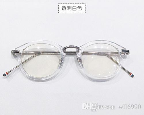 spectacle frame art retro harajuku japanese style semi transparent round metal frame metal frame glasses legs