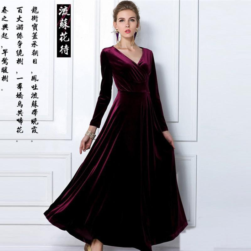 New Spring Fashion V Neck Gorgeous Shimmer Velvet Stretchy Maxi ...