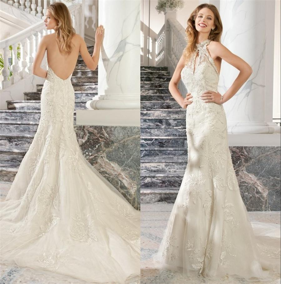 High End Mermaid Wedding Gowns Lace Backless Halter Neck 2016 Arabic Bridal Gowns Plus Size Long ...