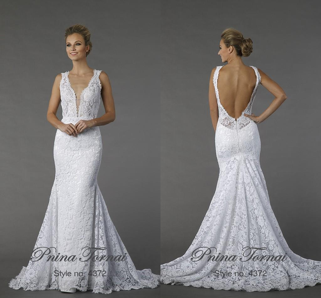 2015 y Backless Lace Mermaid Wedding Dresses White Deep