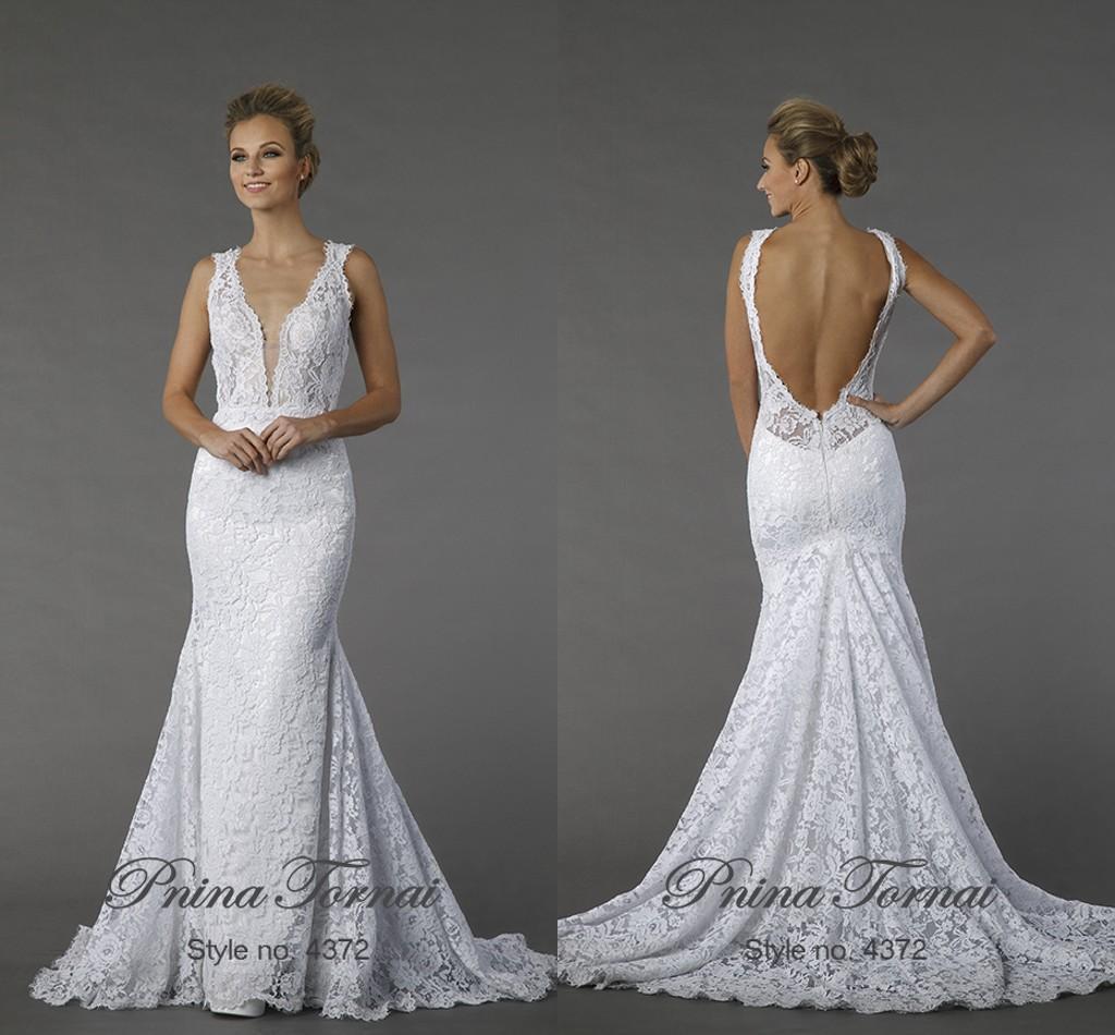 2015 y Backless Lace Mermaid Wedding Dresses White Deep