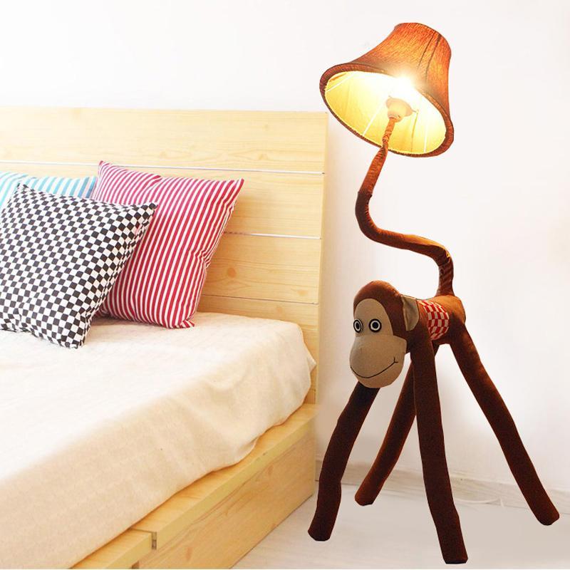 Creative Cartoon Fabric Monkey Baby Room Floor Lamps Cute Kid's ...