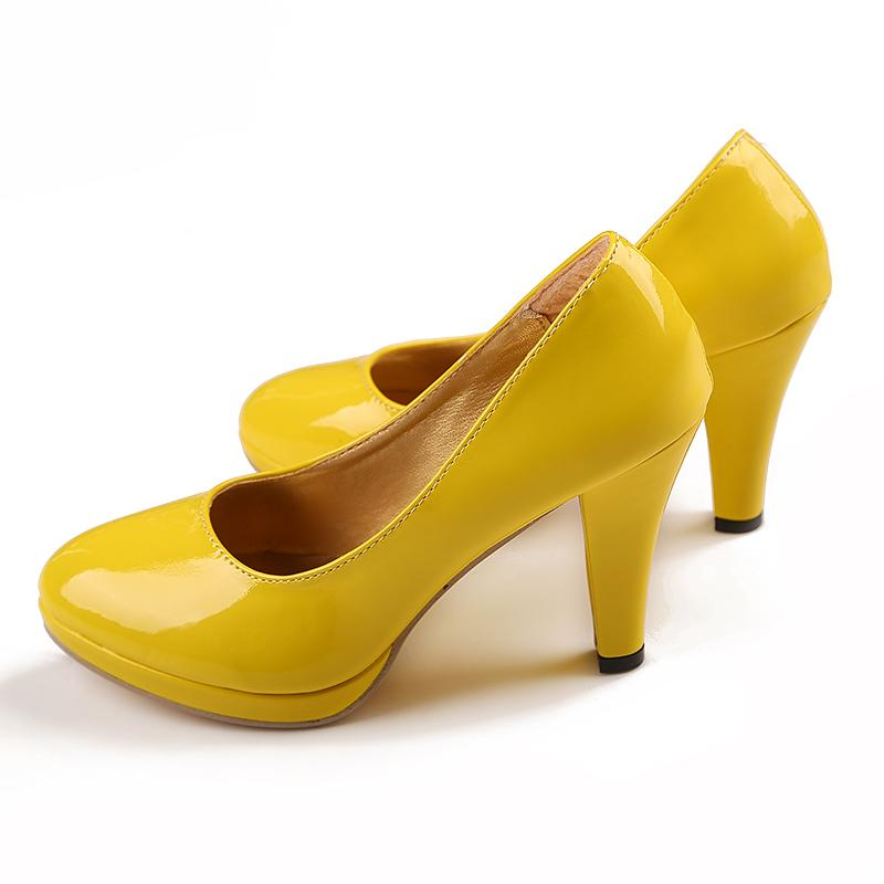 Yellow 3.2 inch High Heels Wedding Shoes Lady Formal Dress Shoes Women