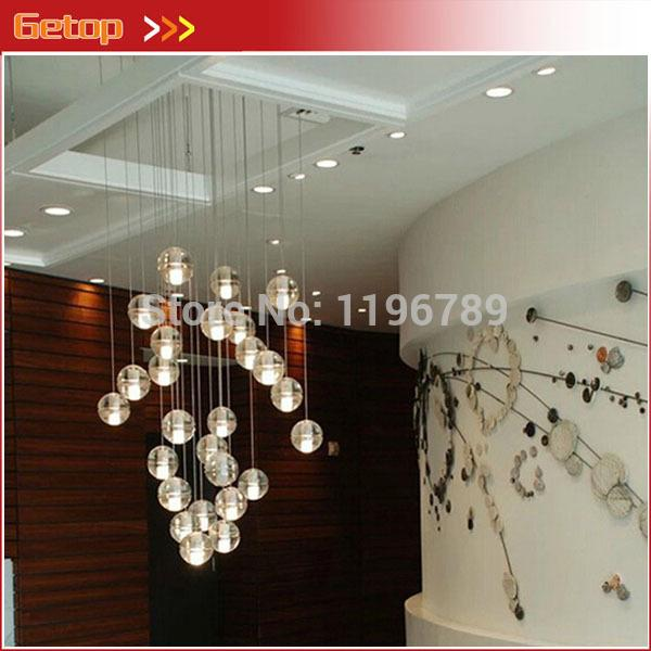 modern crystal pendant lights fixtures magic crystal ball lustres loft stairwell crystal light. Black Bedroom Furniture Sets. Home Design Ideas