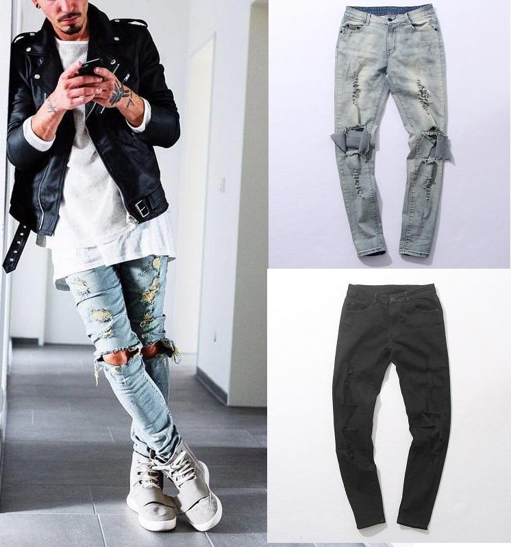 Online Cheap Distressed Skinny Ripped Jeans For Mens Big Hole On