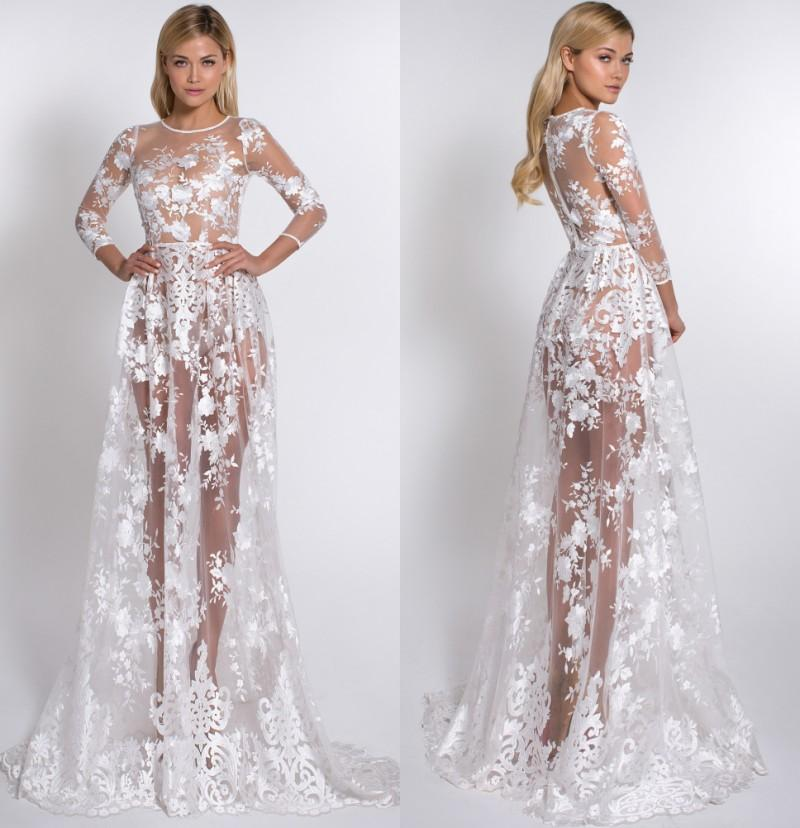 Elegant Lace Prom Dresses Sheer Skirt Backless 3/4 Long Sleeve ...
