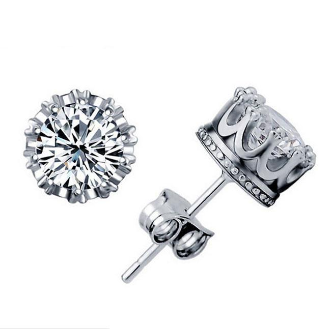 Brand NEW!1CT Austrian Crystal 925 sterling Silver plating 30% White GOLD Crown Wedding Stud Earring Swarovski Elements Engagement Jewelry