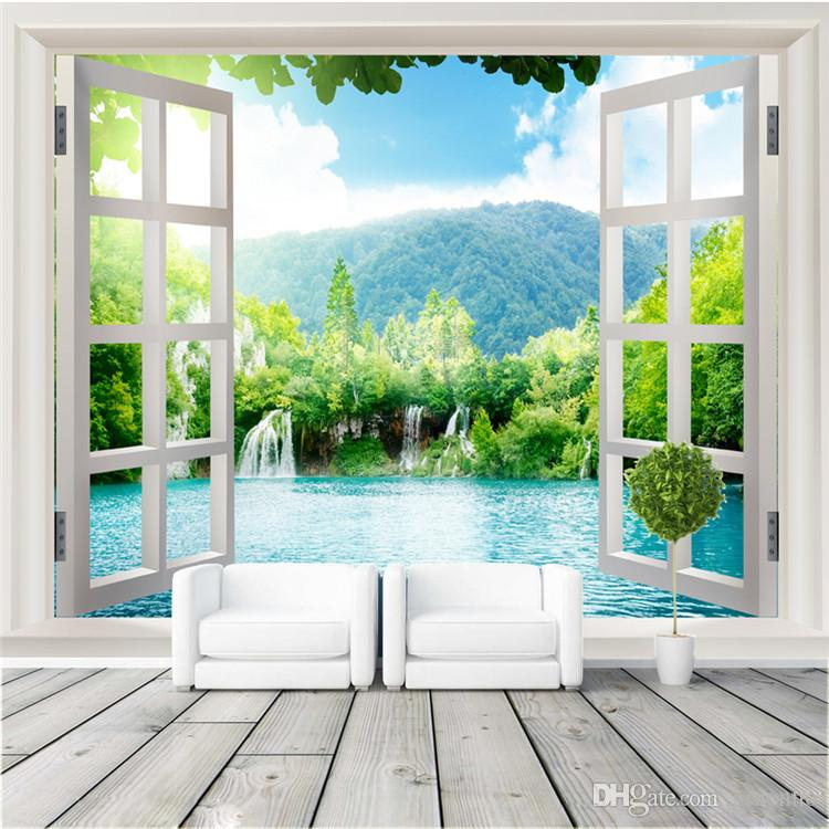 Window 3D Waterfalls Forest View Wall Stickers Art Mural Decal Wallpaper  Living Bedroom Hallway Childrens Rooms Photo Wallpaper Wall Mural Cartoon  Wallpaper ... Part 45