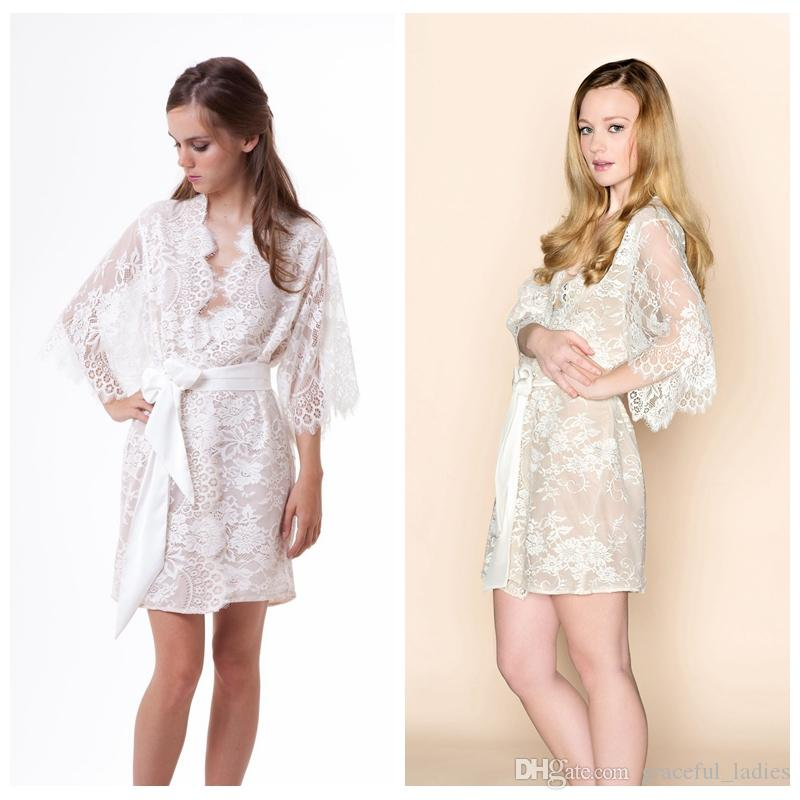 2017 Sexy Ivory Kimono Robe With Bridal Sash Net Lined Women ...