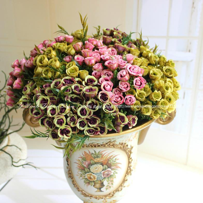 Discount Artificial Flower Bush Mini Rose Bouquet Wedding Home Party Decorative Flowers Home Decoration Available Free Ship From China Dhgate Com
