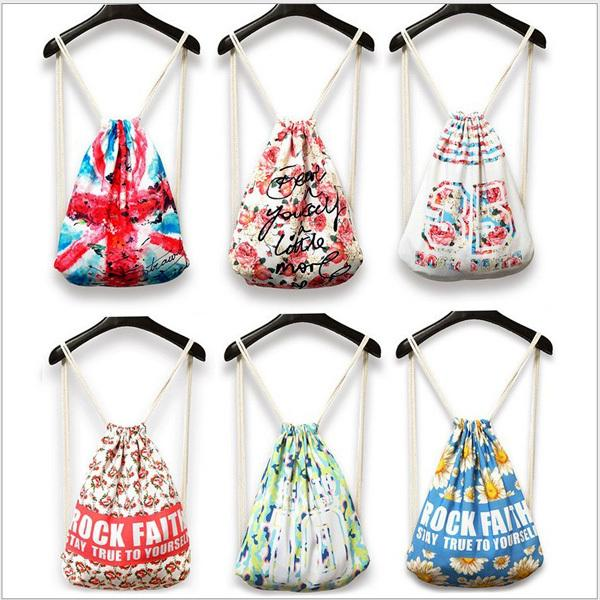 Gym Swim School Sport Cinch Sack Animal Print Nylon Drawstring ...