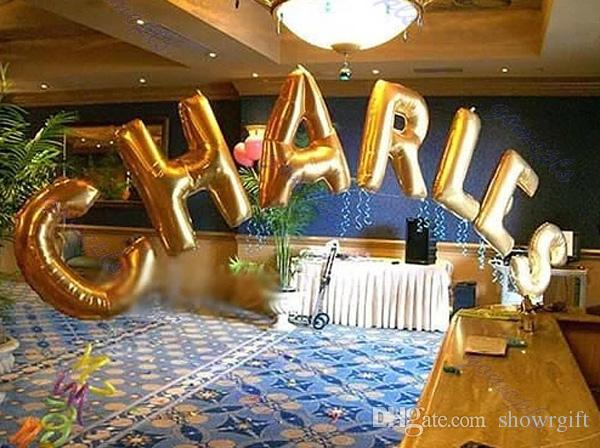 number alphabet letter balloons party supplies foil anuminum 32inch color assorted good quality wholesale free shipping