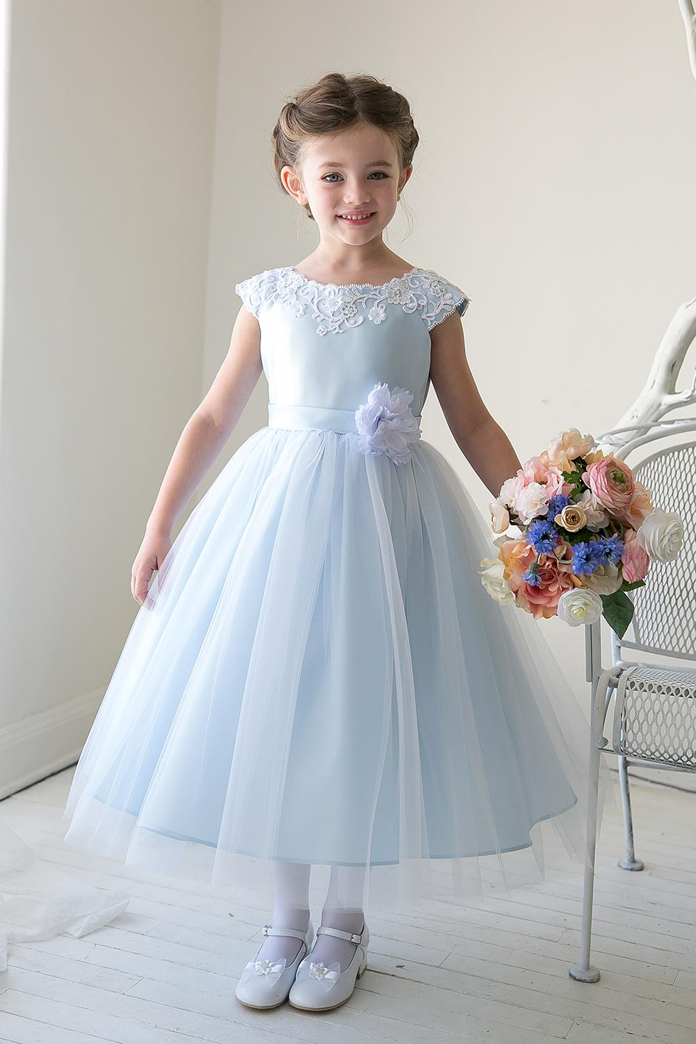 Light Sky Blue Flower Girl Dresses