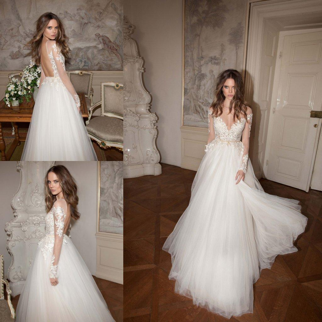 2016 Berta Fall Backless Wedding Dresses With Sleeves